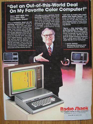 Asimov em 1982, anunciando um TRS80 da Radio Shak