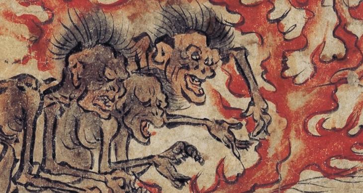 Detalhe de um antigo papiro japonês retratando os fantasmas famintos - que bebem fogo